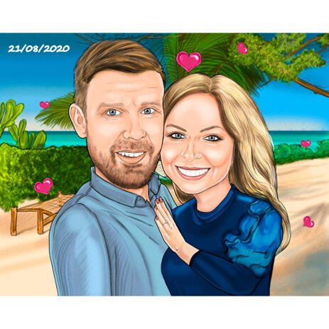 Couple Engagement on Vacation Caricature Hand Drawn from Photos - example