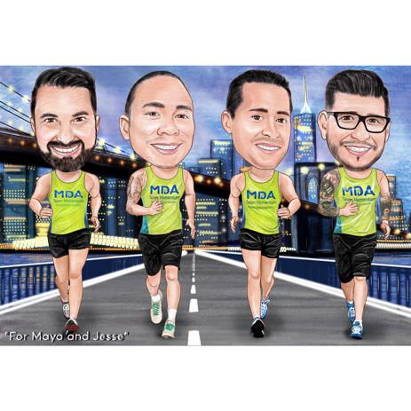 Jogging Group Caricature in Colored Style from Photos with Custom Background - example