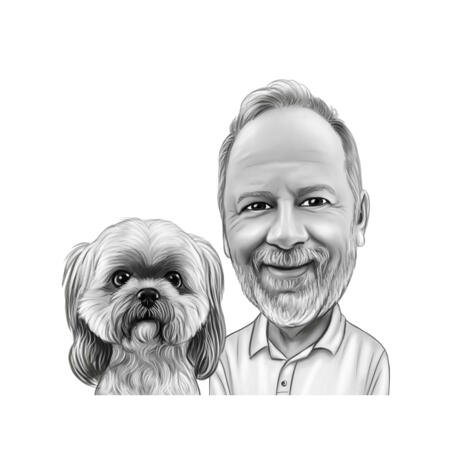 Person Individual with Pet Cartoon Caricature in Black and White Style from Photos - example