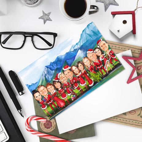 Company Santa Group Christmas Caricature Set of 10 Cards on Custom Background - example