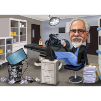 Customized Person Retirement Gift Caricature from Photo in Color Style