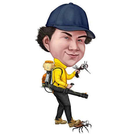 Custom Colored Style Caricature Man with Mosquito Killer Machine from Photos - example