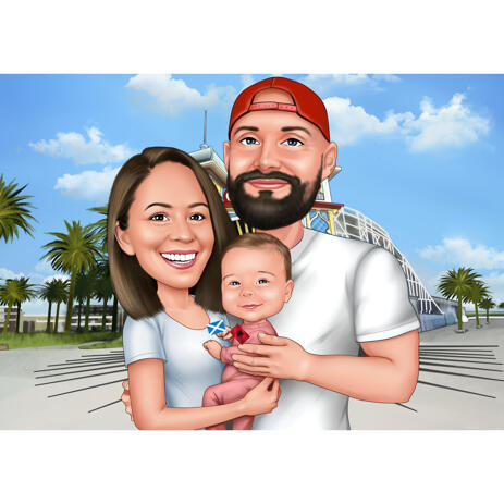 Travel Family Caricature from Photo in Colored Style on Custom Background - example