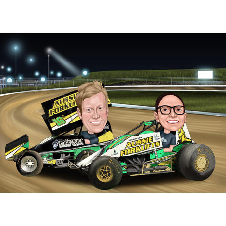 Couple Race Car Caricature in Colored Style with Custom Background - example