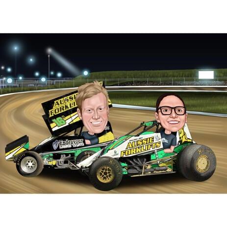 Paar Rennwagen-Karikatur im farbigen Stil mit kundenspezifischem Hintergrund - example