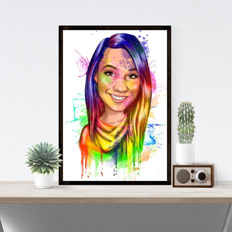 8x10 Rainbow Poster Portrait from Photos in Artistic Watercolor Style - example