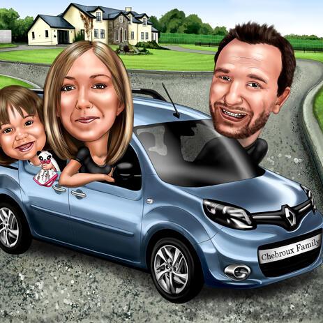 Caricatura de grupo com um veículo desenhado a partir de suas fotos - example