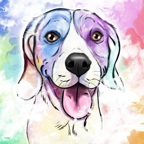 Watercolor Dog Portrait in Pastel Coloring with Colored Background - example