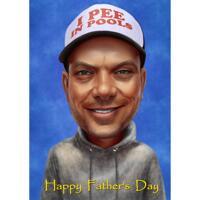 Glad fars dag tecknad porträttgåva från foto på en färgad bakgrund