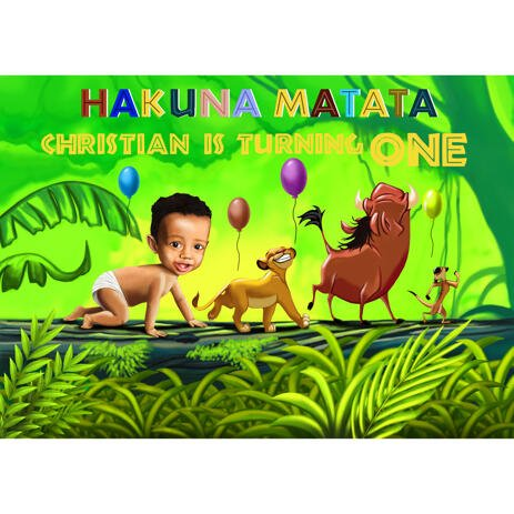 1st Birthday Anniversary Baby Caricature from Photos: Hakuna Matata Style - example
