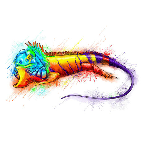 Watercolor Iguana Portrait Hand Drawn from Photos in Rainbow Style - example