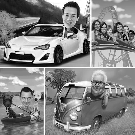 Black and White Head Caricature with Any Vehicle and Personalized Background - example