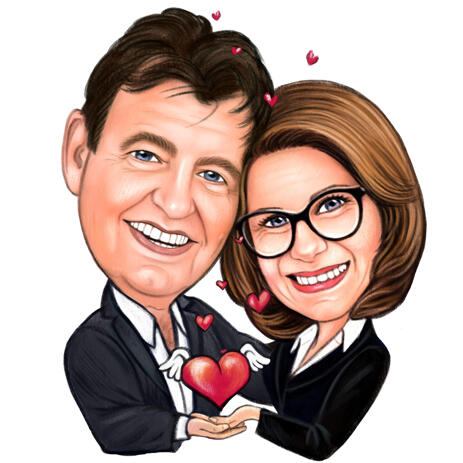 Romantic Couple Caricature Drawing in Colored Style - example