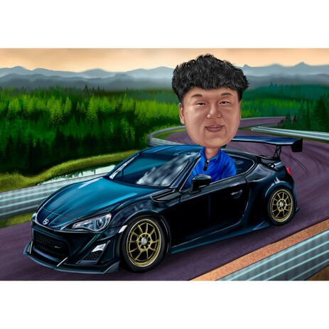 Custom Car Portrait Caricature Painting Gift with Female or Male from Photos with Carside Road Background - example