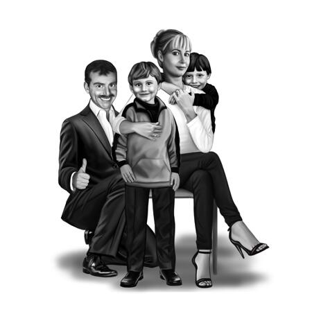 Full Body Family Portrait from Photos in Black and White Style - example