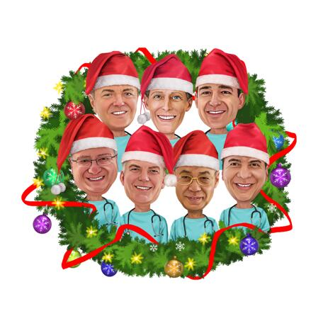 Christmas Group Caricature in Christmas Wreath - example