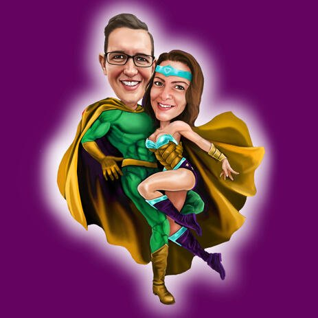 Custom Couple Superheroes Caricature on Colored Background - example