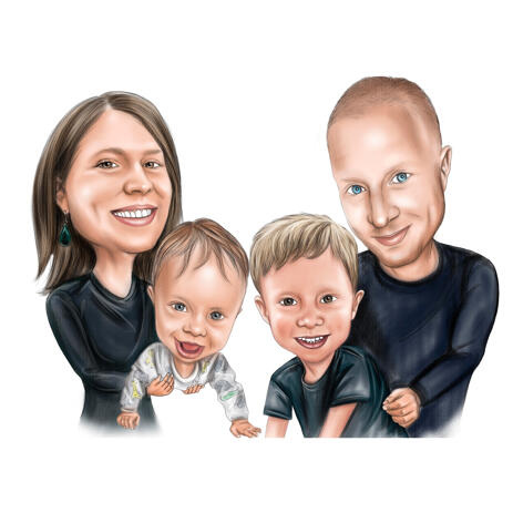 Parents and Two Kids Color Caricature Art Drawing from Photos - example
