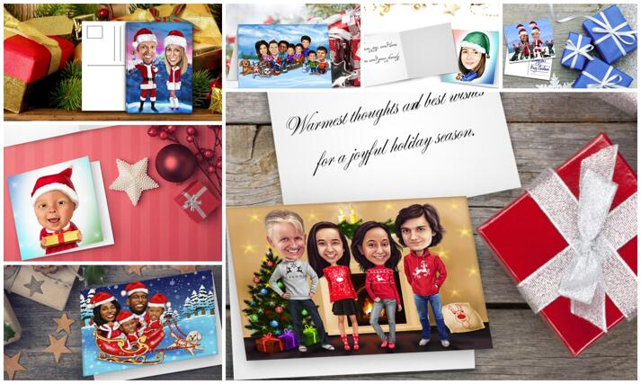 Christmas Caricature Cards large example