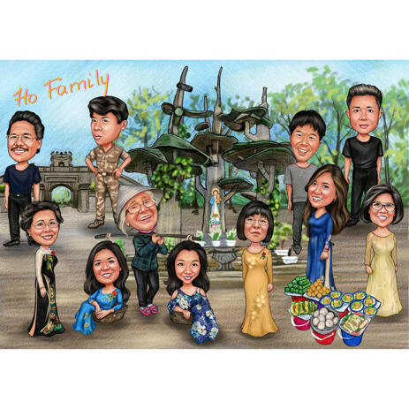 Big Family Group Caricature from Photos with Personal Hobbies - example