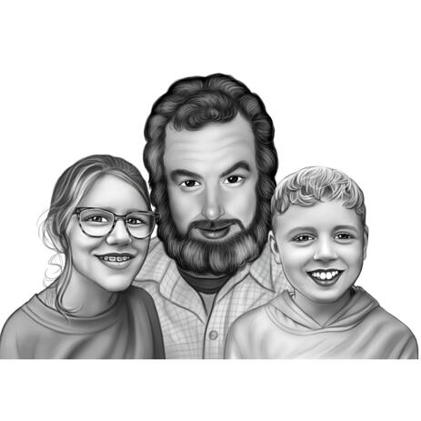 Father with Children Portrait Cartoon from Photos in Black and White Style - example