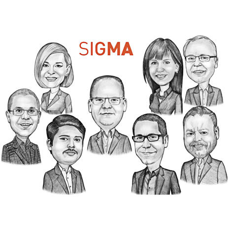 Hand Drawn Corporate Group Company Staff with Company's Logo Caricature from Photos - example
