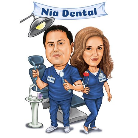Dental Caricature of Couple Doctors for Dental Logo - example