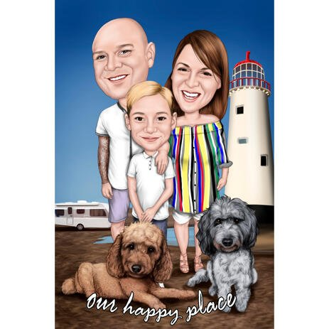 Full Body Family Group Caricature with Pets on Custom Background - Happy Place - example