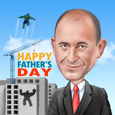 Custom Father's Day Caricature from Photos for Best Father - example