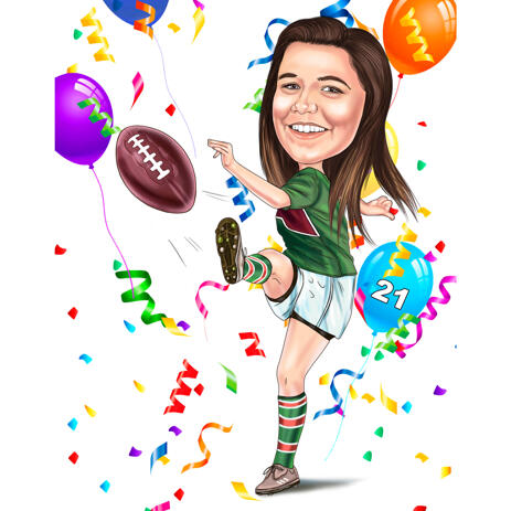 Rugby Player Girl Caricature in Full Body Color Style for Birthday Gift - example
