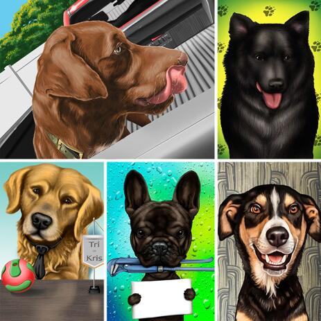 Colored Dog Caricature in Digital Style with Background - example