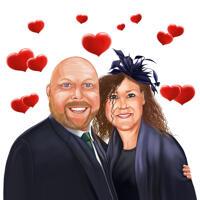 Love Couple Memorial Portrait dans le style de couleur à partir de photos