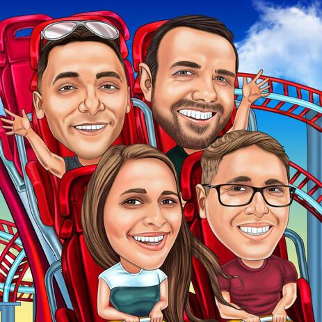 Family in Roller Coaster Caricature from Photos in Colored Style - example