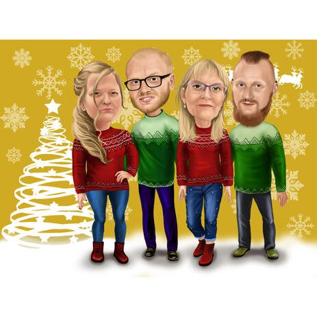 Christmas Family Caricature in Christmas Sweaters - example