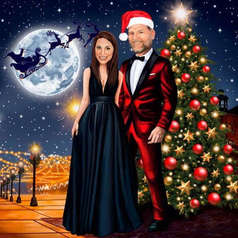 Christmas Couple Portrait in Formal Clothing and Custom Background - example