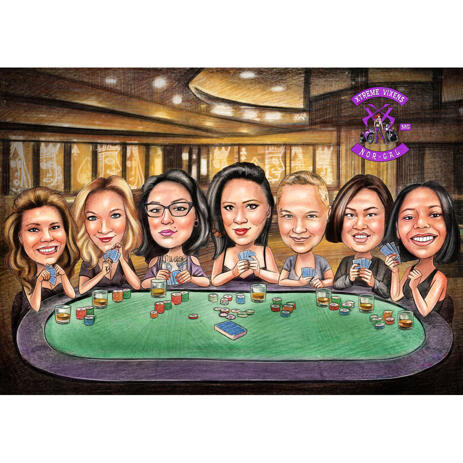 Bridesmaids Caricature from Photos - Poker Style - example