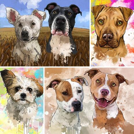 Watercolor Dog Portrait in Natural Tones with Background - example