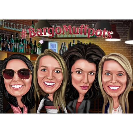 Karikatur der Freundinnen von den Fotos im Farbstil mit kundenspezifischem Hintergrund - example