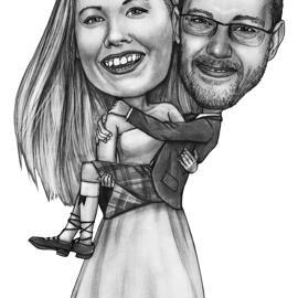 在黑白铅笔样式的充分的身体婚礼夫妇略图