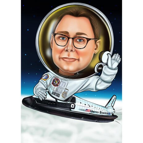 Astronaut Pilot Custom Caricature with Plane Background - example