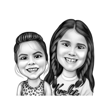 2 Daughters Family Caricature in Black and White Style from Photos - example