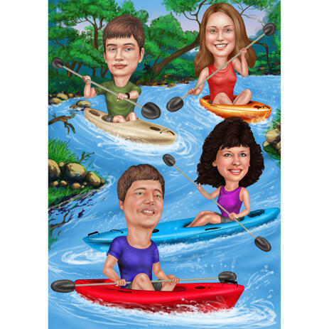 Canoe Caricature: Family or Group Caricature for Rafting Fans - example