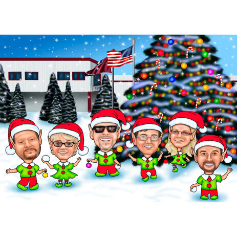 Christmas Elves Group Family Caricature from Photos - example
