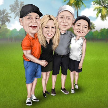 Full Body Group Golfing Caricature with Grassland Background for Custom Golfer Gift - example