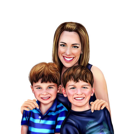 Mother with Twins Cartoon Portrait Painting from Photos - example