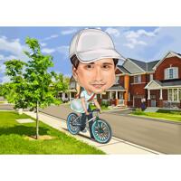 Комическая карикатура человека на велосипеде с индивидуальным фоном