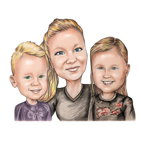 Best Mother with Son and Daughter Caricature Portrait in Pencil Style from Photos - example