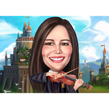 Violin Player in Colored Caricature from Photo with Custom Background - example