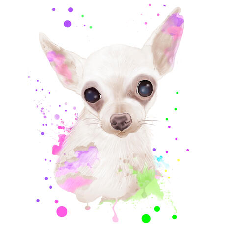 White Dog Cartoon Portrait in Watercolor Style from Photo - example