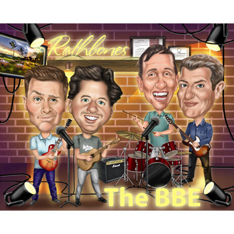 Music Band Custom Caricature from Photos - example